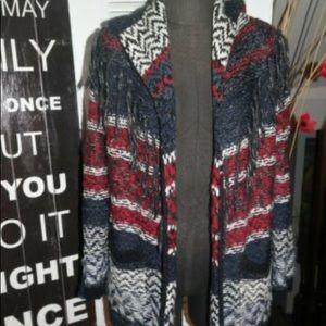 Jessica Simpson cardigan fringe hoodie